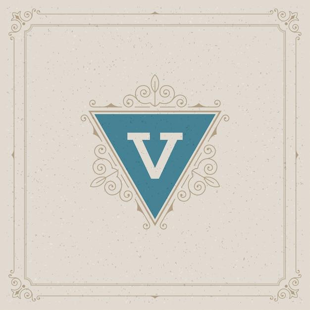 O logotipo do vintage elegante floresce ornamentos Vetor Premium