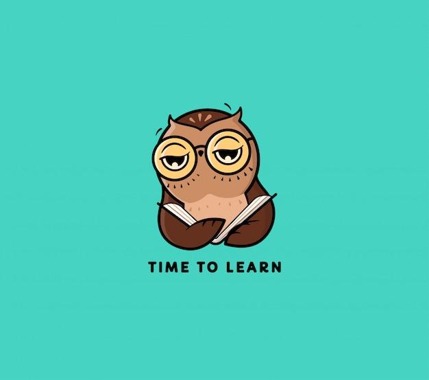 O logotipo owl lê book. personagem de desenho animado para educação Vetor Premium