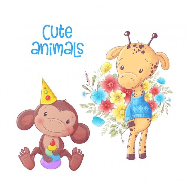 O macaco bonito dos animais dos desenhos animados e o girafa entregam o desenho. Vetor Premium