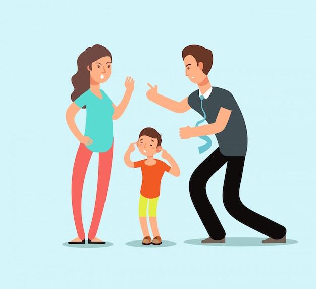 O marido e a esposa irritados juram na presença da criança assustado infeliz. conceito de desenho de vetor de conflito de família Vetor Premium