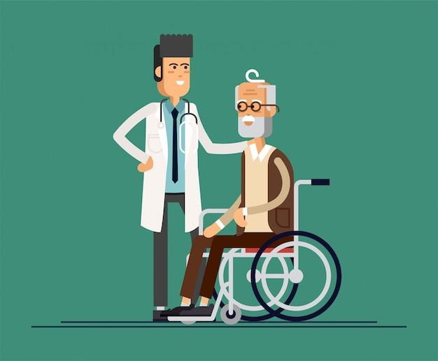 O médico ajuda a avó a ir ao passeador. cuidar de idosos. ilustração Vetor Premium