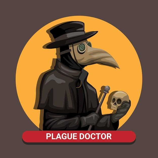 O médico da morte negra da praga usa uma fantasia de máscara de pássaro segurando uma caveira e uma vara no conceito medieval na ilustração dos desenhos animados Vetor Premium