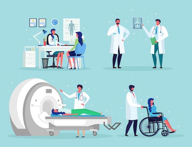 O médico fala com o homem. tecnologia de imagem por ressonância magnética tomografia, radiologia, máquina de raio-x para exame de ressonância magnética de doenças oncológicas. enfermeira, cadeira de rodas para paciente idoso com deficiência Vetor Premium
