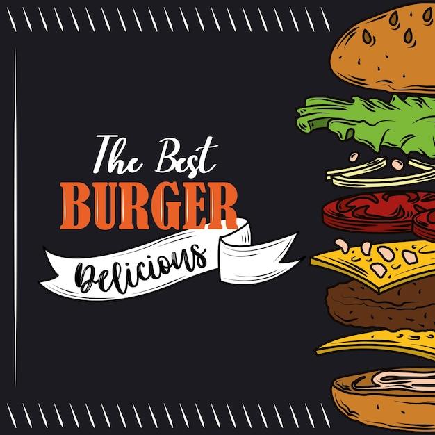 O melhor hambúrguer com camadas deliciosas de ingredientes fast food em fundo preto Vetor Premium