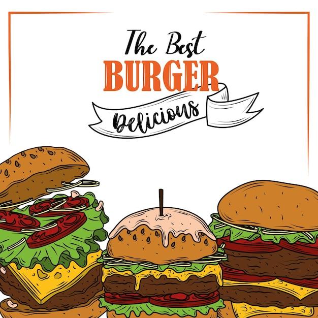 O melhor hambúrguer delicioso de vegetais e ingredientes fast food Vetor Premium