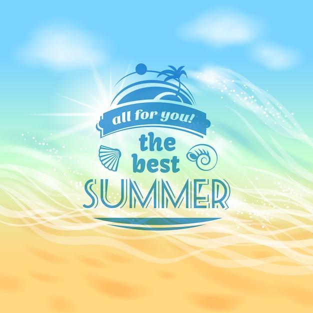 O melhor verão sempre tropical férias férias cartaz de propaganda de fundo Vetor grátis