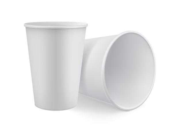 O modelo 3d branco em branco tira o copo Vetor Premium