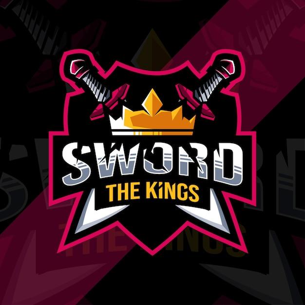 O modelo de design de esports do logotipo do mascote do rei da espada Vetor Premium