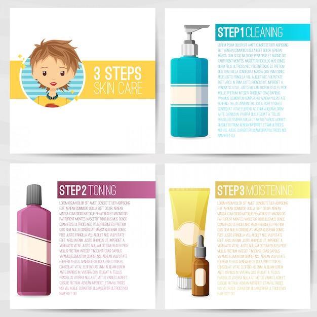 O modelo de design quadrado de brochuras, folhetos, cartazes, banners sobre cosméticos. cuidados com a pele em três etapas. design com frascos de cosméticos decorativos. vetor. Vetor Premium