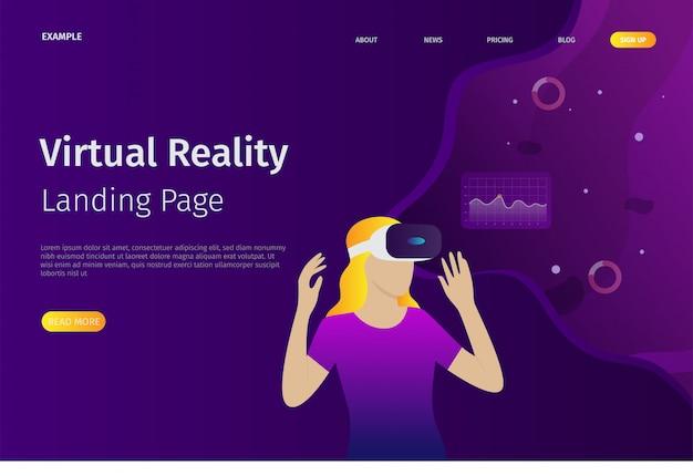 O modelo de página de destino da realidade virtual pode ser usado para websites Vetor Premium
