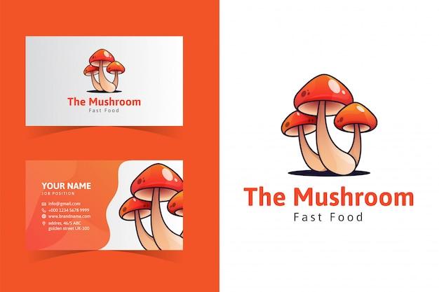 O modelo do cartão de nome de cogumelo Vetor Premium