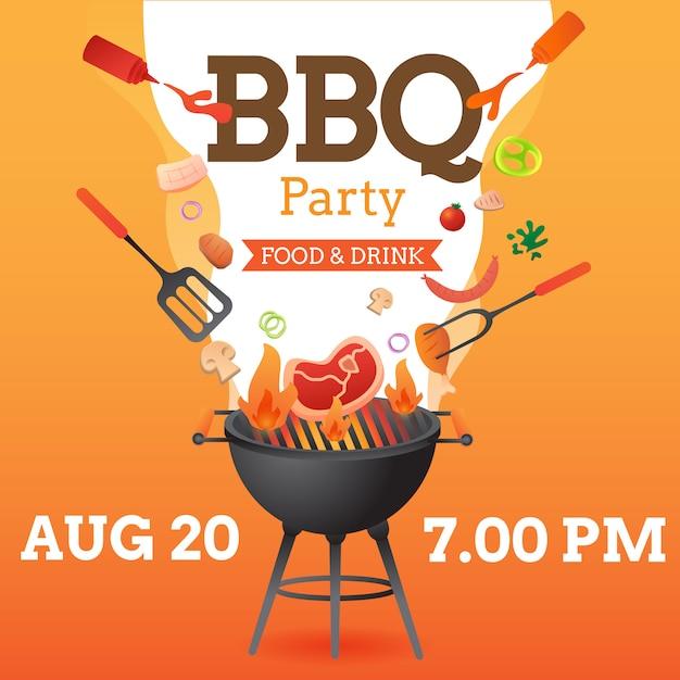 O modelo do cartaz do convite da festa do bbq com grade e inseto do alimento vector a ilustração lisa do estilo Vetor Premium