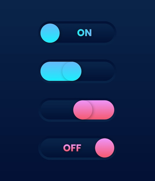 O modo escuro está ativado e desliga o botão deslizante. elementos da interface do usuário da web Vetor Premium