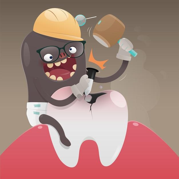 O monstro mau está cavando e danificando o dente, a dor de dente é causada pela cárie dentária, vetor de desenhos animados, conceito com a saúde do dente Vetor Premium