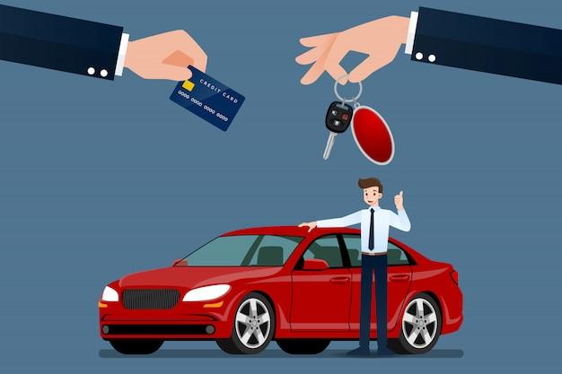 O negociante de carros vende um carro. Vetor Premium