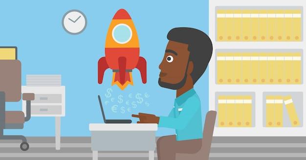 O negócio bem sucedido começa acima a ilustração do vetor. Vetor Premium