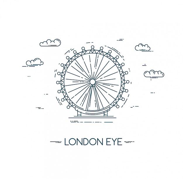 O olho de londres. ilustração de linha plana. Vetor Premium