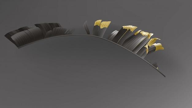 O ouro preto tropical sae no vetor escuro do fundo. Vetor grátis