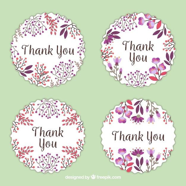 O pacote de quatro aguarela floral agradece-lhe adesivos Vetor grátis