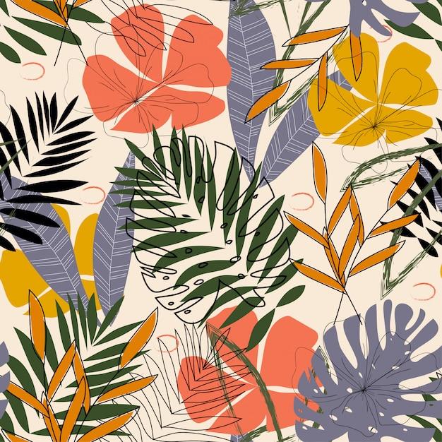 O padrão original com folhas e plantas tropicais Vetor Premium