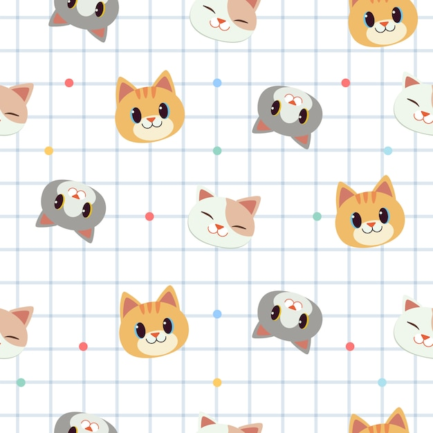 O padrão sem emenda de gato bonito no fundo branco do álbum de recortes. Vetor Premium