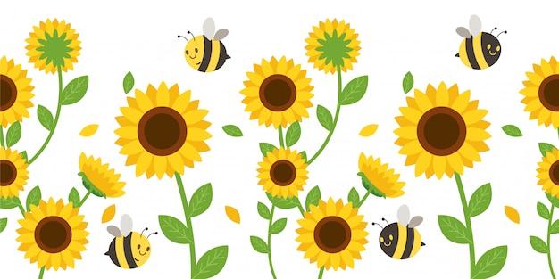 O padrão sem emenda de girassol e folhas com abelha. Vetor Premium