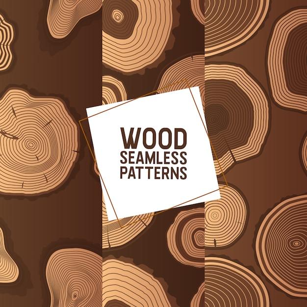O padrão sem emenda de madeira circunda os anéis de toras de madeira serrada de troncos e materiais de madeira de madeira Vetor Premium