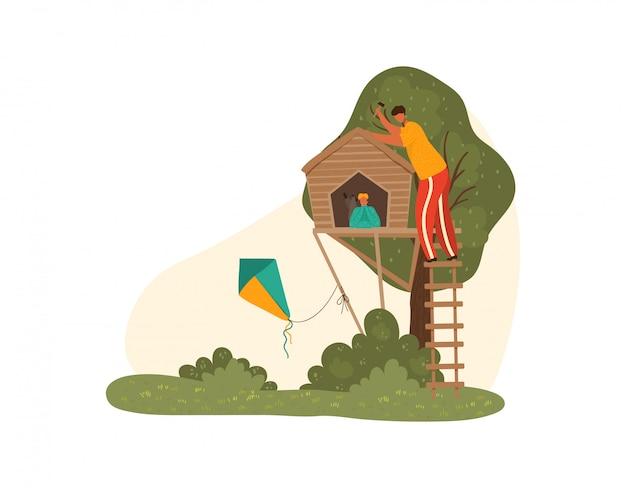 O pai feliz e as crianças do pai junto no parque natural na construção do verão brincam a casa na árvore para crianças, ilustração isolada paternidade. Vetor Premium