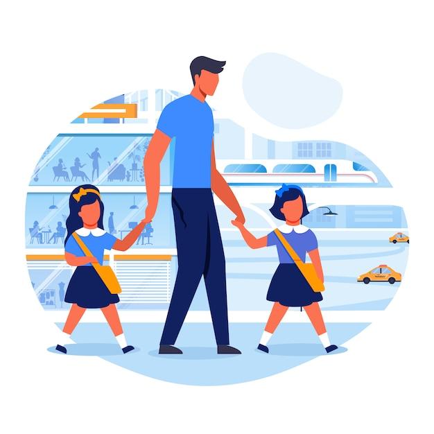 O pai leva crianças à ilustração lisa do vetor da escola Vetor Premium