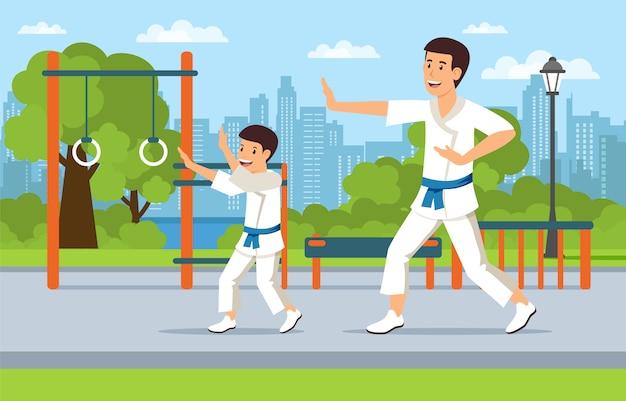 O pai no campo de jogos ensina artes marciais do filho. Vetor Premium