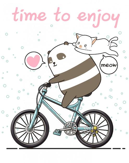 O panda kawaii está andando de bicicleta com um gato. tempo para desfrutar Vetor Premium