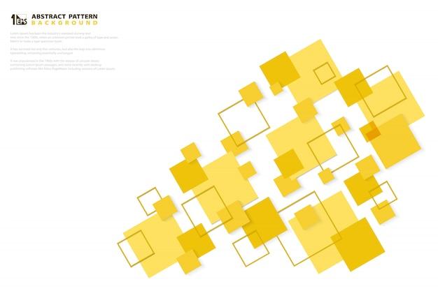 O papel amarelo mínimo abstrato da tecnologia do quadrado da cor cortou o fundo do projeto do teste padrão. Vetor Premium