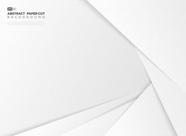 O papel cinzento e branco do inclinação do projeto do sumário cortou o fundo do molde do teste padrão. Vetor Premium