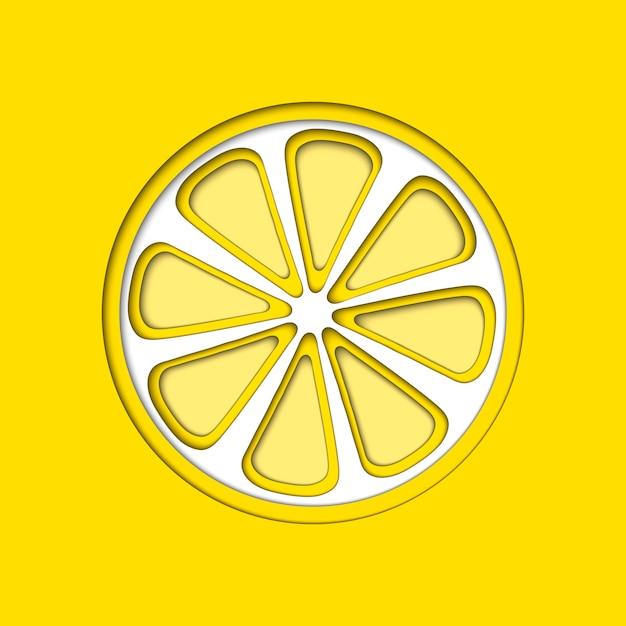 O papel do vetor cortou o limão amarelo, formas cortadas. Vetor Premium