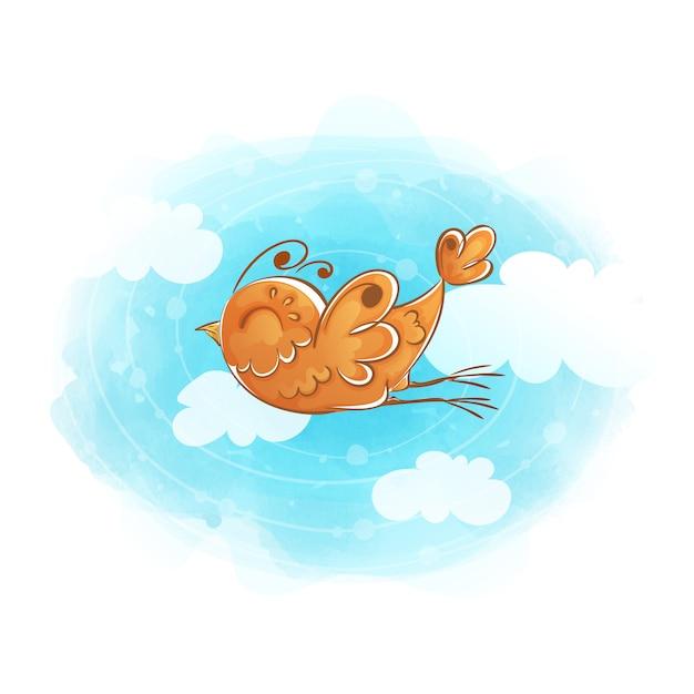 O pássaro alaranjado voa através do céu com nuvens. Vetor Premium
