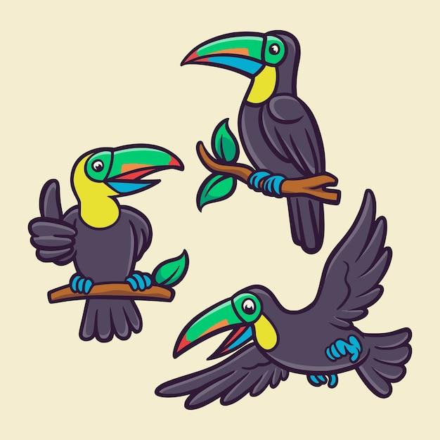 O pássaro tucano está voando e empoleirado em um pacote de ilustração de mascote de logotipo de animal de tronco de árvore Vetor Premium