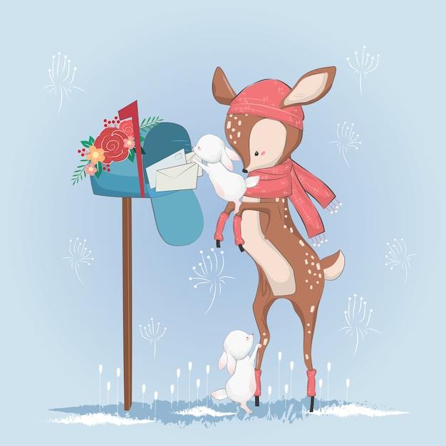 O pequeno cervo ajudando o coelho para obter os correios Vetor Premium