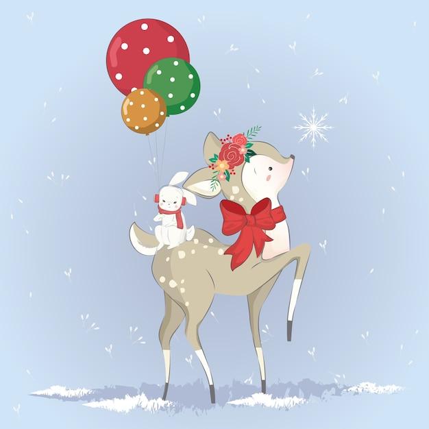 O pequeno cervo beija o floco de neve Vetor Premium