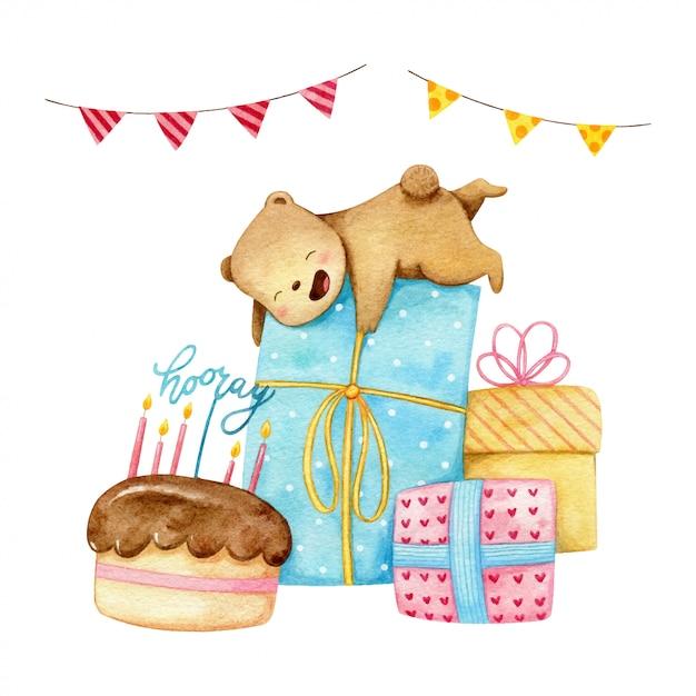 O pequeno urso polar está feliz com muitos presentes grandes para a festa de aniversário. Vetor Premium