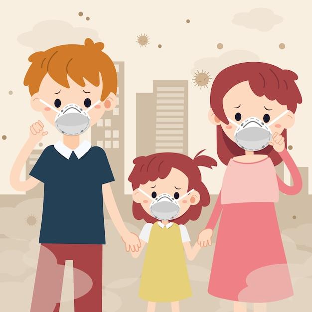 O personagem da família com máscara e poeira da cidade. a família sente-se triste e doente, porque a poeira. a família usa máscara. o personagem do pai mather e criança em estilo simples. Vetor Premium