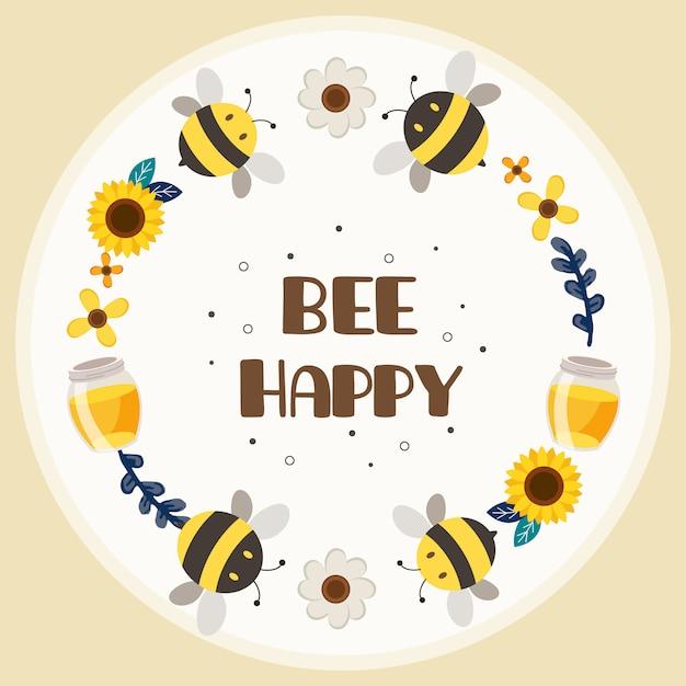 O personagem de abelha bonita com flowerring e texto de abelha feliz no fundo branco. o personagem de abelha amarela bonita e abelha negra, brincando com o pote de flor e mel em estilo simples. Vetor Premium