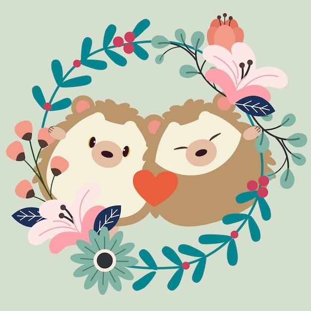 O personagem de casal apaixonado por ouriço com floração Vetor Premium