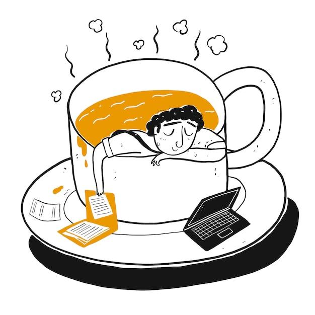 O personagem de desenho um homem na xícara de café. Vetor Premium