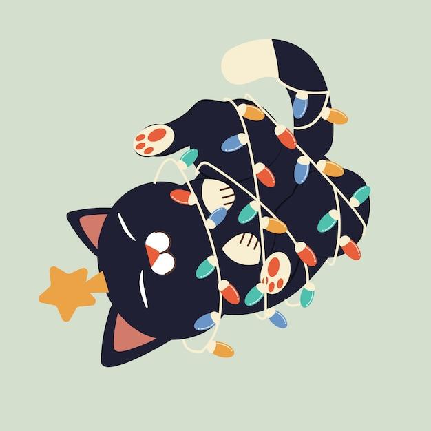 O personagem de gato bonito, brincando com uma lâmpada de natal e usar uma estrela na cabeça. Vetor Premium