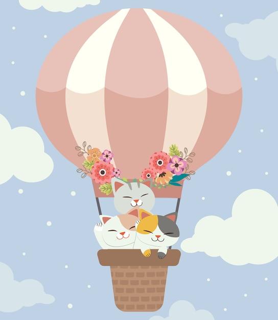 O personagem de gato bonito e amigos na cesta com o balão. o balão fofo com a flor no céu Vetor Premium