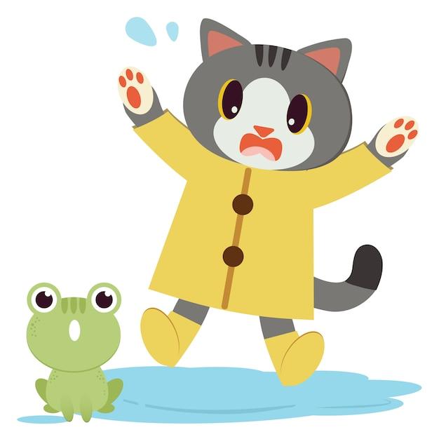 O personagem de gato bonito usa a capa de chuva amarela e botas Vetor Premium