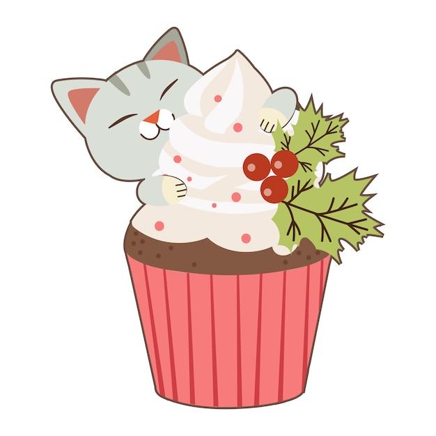 O personagem de gato fofo com um grande bolinho no tema de natal Vetor Premium