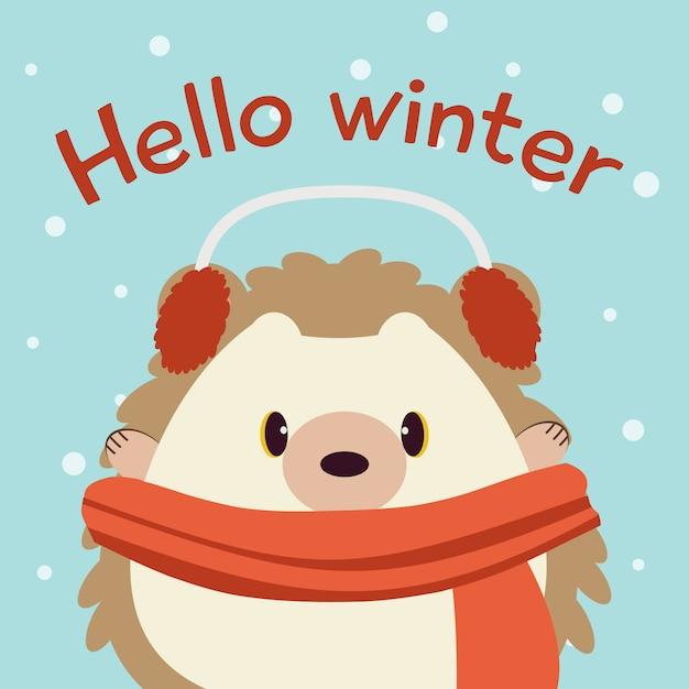 O personagem de ouriço fofo no fundo azul com neve e texto de olá inverno. Vetor Premium