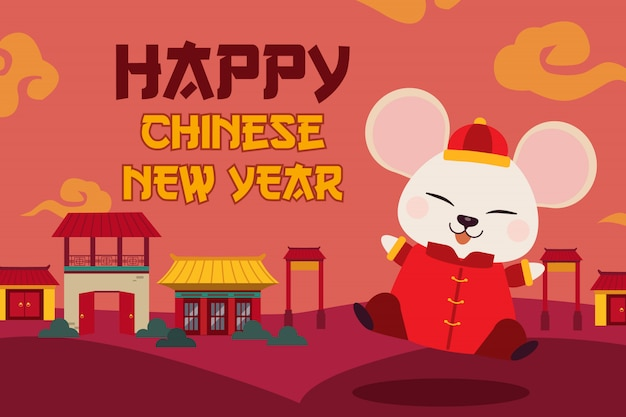 O personagem de rato bonitinho com casa parece uma vila e uma nuvem chinesa. Vetor Premium