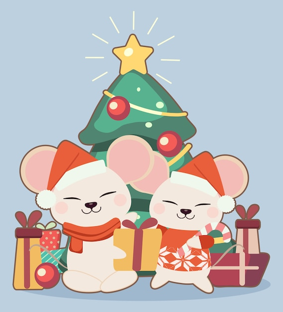 O personagem de rato bonitinho com uma caixa de presente e árvore de natal em fundo azul Vetor Premium